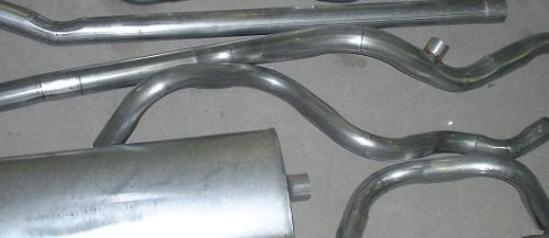 stainless steel and aluminized exhaust systems, single and duals, ranging from 1919 through the mid 1970's
